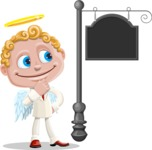 Business Angel Cartoon Vector Character AKA Angello - Street Sign
