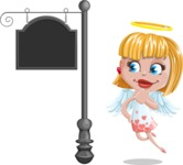 Angel Kid Vector Cartoon Character AKA Stella the Shining Angel - Street Sign