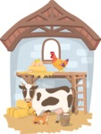 Farm Animals in a Barn