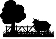 Sheep on the Farm Silhouette
