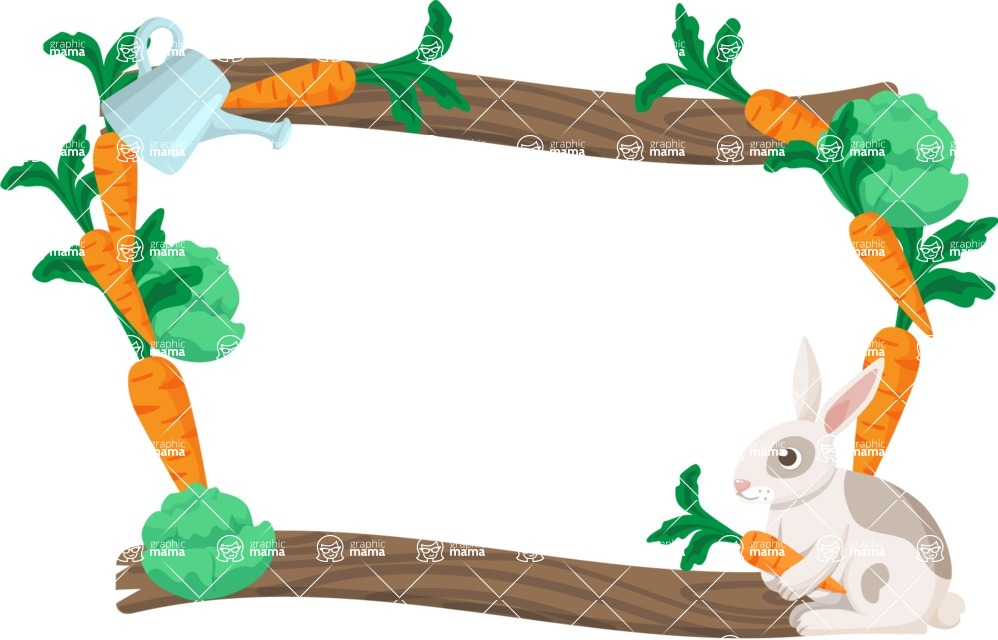 Carrots and Rabbit Vector Frame | GraphicMama | GraphicMama