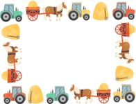 Animals: On The Farm - Tractors and Hay Carts Frame