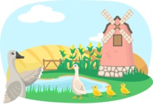 Animals: On The Farm - Ducks by a Windmill