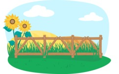 Animals: On The Farm - Farm Fence and Sunflowers