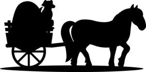 Animals: On The Farm - Farm Cart Drawn by Horse Silhouette
