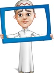 Cute Arab Boy Cartoon Vector Character AKA Hanif - Frame