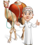 Cute Arab Boy Cartoon Vector Character AKA Hanif - Camel