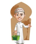 Cute Arab Boy Cartoon Vector Character AKA Hanif - Shape 6