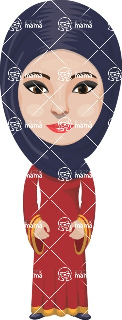 Arabian vector graphics - creation kit - Make your own arab/muslim avatar using a rich collection of clothes, costumes, eyes, hairs and accessories - Muslim Woman 11