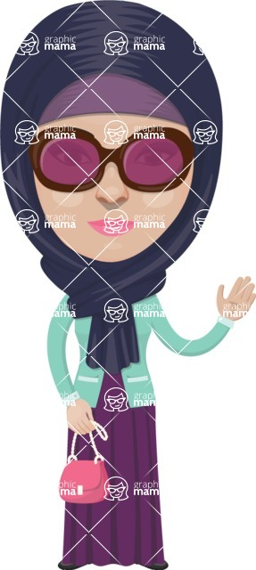 Arabian vector graphics - creation kit - Make your own arab/muslim avatar using a rich collection of clothes, costumes, eyes, hairs and accessories - Muslim Woman 13
