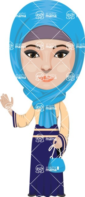 Arabian vector graphics - creation kit - Make your own arab/muslim avatar using a rich collection of clothes, costumes, eyes, hairs and accessories - Muslim Woman 14