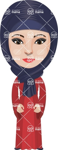 Arabian vector graphics - creation kit - Make your own arab/muslim avatar using a rich collection of clothes, costumes, eyes, hairs and accessories - Muslim Woman 15
