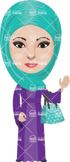 Arabian vector graphics - creation kit - Make your own arab/muslim avatar using a rich collection of clothes, costumes, eyes, hairs and accessories - Muslim Woman 16