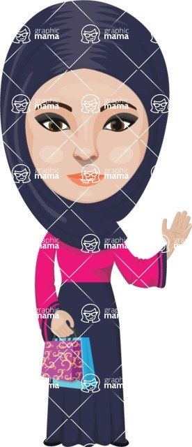 Arabian vector graphics - creation kit - Make your own arab/muslim avatar using a rich collection of clothes, costumes, eyes, hairs and accessories - Muslim Woman 19