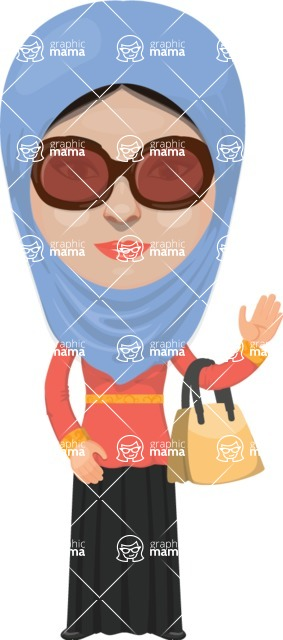 Arabian vector graphics - creation kit - Make your own arab/muslim avatar using a rich collection of clothes, costumes, eyes, hairs and accessories - Muslim Woman 2