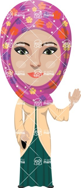 Arabian vector graphics - creation kit - Make your own arab/muslim avatar using a rich collection of clothes, costumes, eyes, hairs and accessories - Muslim Woman 20