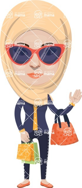 Arabian vector graphics - creation kit - Make your own arab/muslim avatar using a rich collection of clothes, costumes, eyes, hairs and accessories - Muslim Woman 23