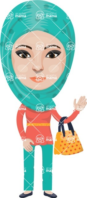 Arabian vector graphics - creation kit - Make your own arab/muslim avatar using a rich collection of clothes, costumes, eyes, hairs and accessories - Muslim Woman 25