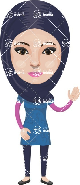 Arabian vector graphics - creation kit - Make your own arab/muslim avatar using a rich collection of clothes, costumes, eyes, hairs and accessories - Muslim Woman 26