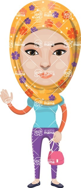 Arabian vector graphics - creation kit - Make your own arab/muslim avatar using a rich collection of clothes, costumes, eyes, hairs and accessories - Muslim Woman 27
