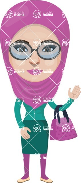 Arabian vector graphics - creation kit - Make your own arab/muslim avatar using a rich collection of clothes, costumes, eyes, hairs and accessories - Muslim Woman 28
