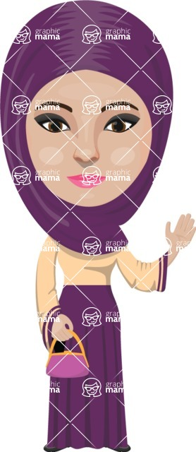 Arabian vector graphics - creation kit - Make your own arab/muslim avatar using a rich collection of clothes, costumes, eyes, hairs and accessories - Muslim Woman 3