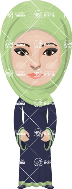 Arabian vector graphics - creation kit - Make your own arab/muslim avatar using a rich collection of clothes, costumes, eyes, hairs and accessories - Muslim Woman 30