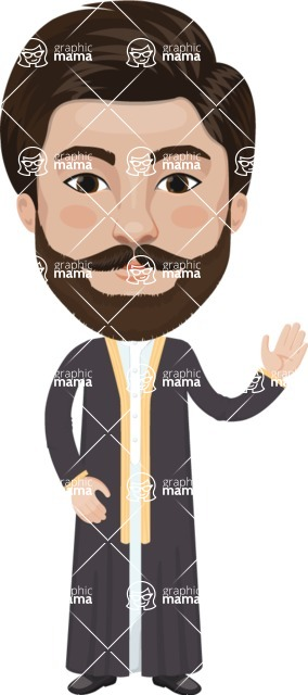 Arabian vector graphics - creation kit - Make your own arab/muslim avatar using a rich collection of clothes, costumes, eyes, hairs and accessories - Muslim Man 1