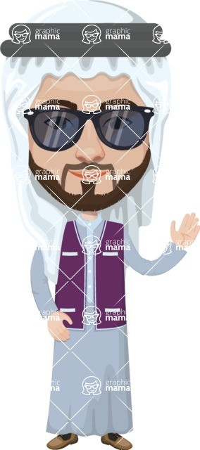 Arabian vector graphics - creation kit - Make your own arab/muslim avatar using a rich collection of clothes, costumes, eyes, hairs and accessories - Muslim Man 3