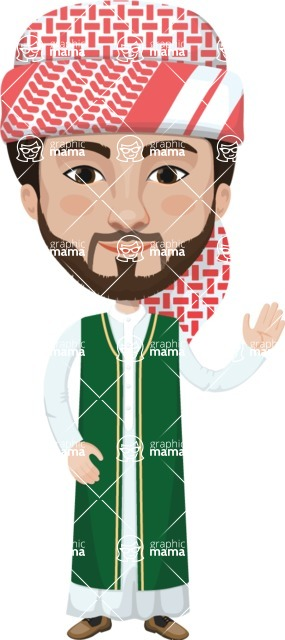 Arabian vector graphics - creation kit - Make your own arab/muslim avatar using a rich collection of clothes, costumes, eyes, hairs and accessories - Muslim Man 4