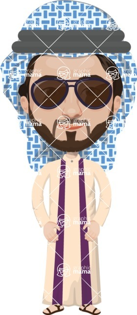 Arabian vector graphics - creation kit - Make your own arab/muslim avatar using a rich collection of clothes, costumes, eyes, hairs and accessories - Muslim Man 5