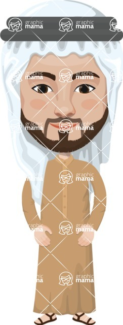 Arabian vector graphics - creation kit - Make your own arab/muslim avatar using a rich collection of clothes, costumes, eyes, hairs and accessories - Muslim Man 7