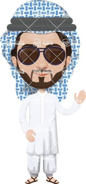 Arabian vector graphics - creation kit - Make your own arab/muslim avatar using a rich collection of clothes, costumes, eyes, hairs and accessories - Muslim Man 12