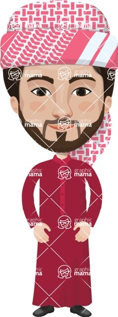 Arabian vector graphics - creation kit - Make your own arab/muslim avatar using a rich collection of clothes, costumes, eyes, hairs and accessories - Muslim Man 14