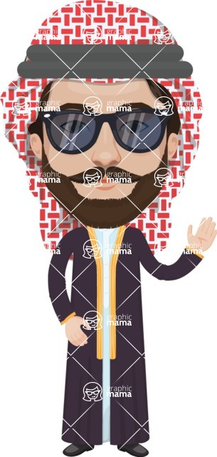 Arabian vector graphics - creation kit - Make your own arab/muslim avatar using a rich collection of clothes, costumes, eyes, hairs and accessories - Muslim Man 15
