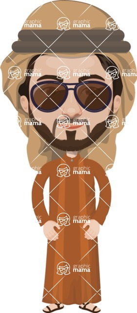 Arabian vector graphics - creation kit - Make your own arab/muslim avatar using a rich collection of clothes, costumes, eyes, hairs and accessories - Muslim Man 17