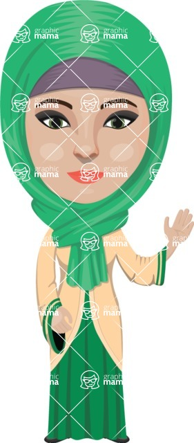 Arabian vector graphics - creation kit - Make your own arab/muslim avatar using a rich collection of clothes, costumes, eyes, hairs and accessories - Muslim Woman 5