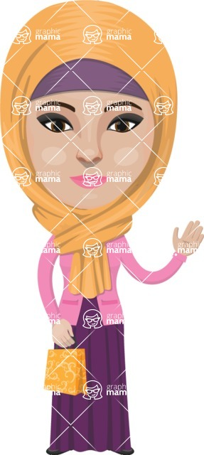 Arabian vector graphics - creation kit - Make your own arab/muslim avatar using a rich collection of clothes, costumes, eyes, hairs and accessories - Muslim Woman 6