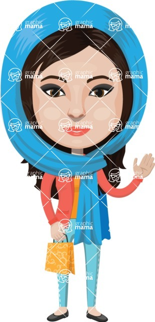 Arabian vector graphics - creation kit - Make your own arab/muslim avatar using a rich collection of clothes, costumes, eyes, hairs and accessories - Muslim Woman 9