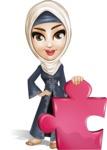 Modern Muslim Woman Cartoon Vector Character - Puzzle
