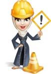 Modern Muslim Woman Cartoon Vector Character - Under Construction
