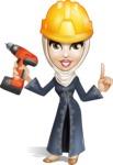 Modern Muslim Woman Cartoon Vector Character - Under Construction 2