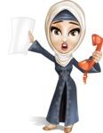 Modern Muslim Woman Cartoon Vector Character - Office fever