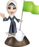 Modern Muslim Woman Cartoon Vector Character - On the top