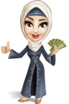 Modern Muslim Woman Cartoon Vector Character - Money
