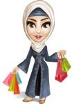 Modern Muslim Woman Cartoon Vector Character - Shopping