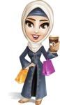 Modern Muslim Woman Cartoon Vector Character - Shopping 2