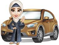 Modern Muslim Woman Cartoon Vector Character - Car
