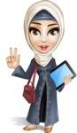 Modern Muslim Woman Cartoon Vector Character - On walking