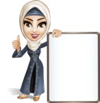 Modern Muslim Woman Cartoon Vector Character - Presentation 2